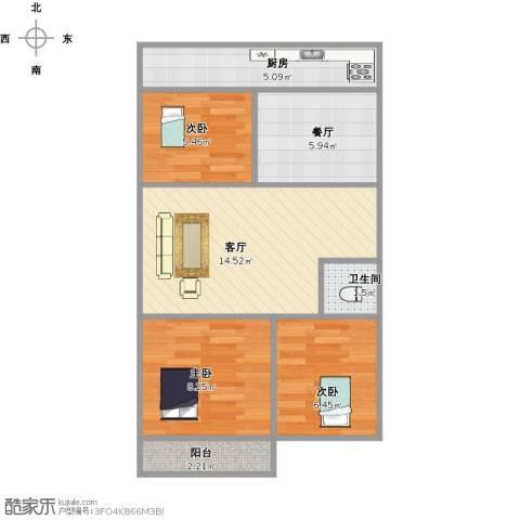 建鑫花园3室2厅1卫1厨54.52㎡户型图