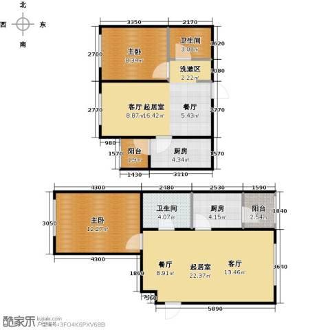 滨才城2室0厅2卫2厨108.00㎡户型图