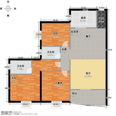 龙湾一品3室0厅2卫1厨131.00㎡户型图