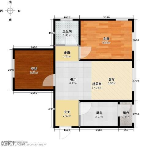 滨才城2室0厅1卫1厨55.00㎡户型图