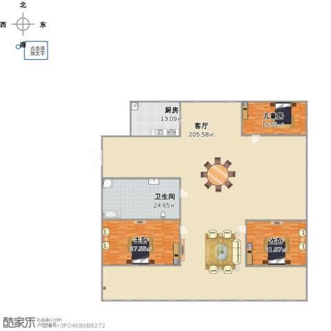 乐园3室1厅1卫1厨400.00㎡户型图