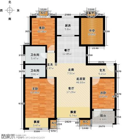 潮白河孔雀城・温莎郡3室0厅2卫1厨136.00㎡户型图