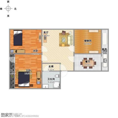 化纤小区2室2厅1卫1厨109.00㎡户型图