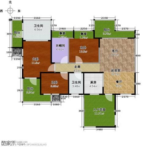 三亚水三千3室0厅2卫1厨114.00㎡户型图