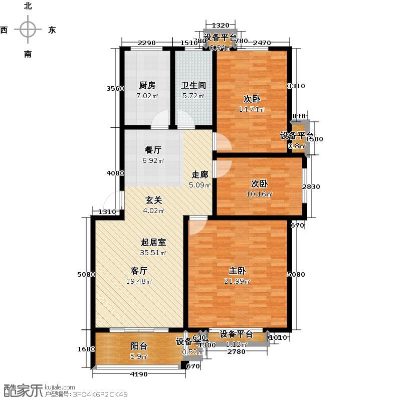 冠博四季花城117.03㎡三室两厅(117.03平方米)户型3室2厅
