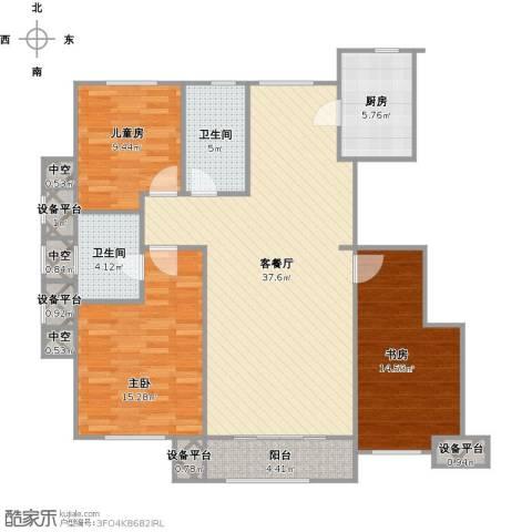 海昌·天澜3室1厅2卫1厨137.00㎡户型图