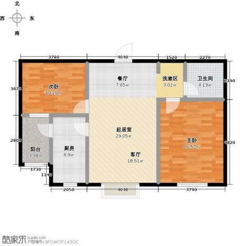 西湖庄园2室0厅1卫1厨79.40㎡户型图
