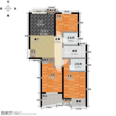 枫林湾3室0厅2卫1厨116.00㎡户型图
