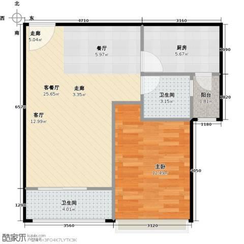 浔城湖锦1室1厅2卫1厨57.00㎡户型图