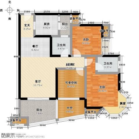 中融金湖名城,御湖2室0厅2卫1厨99.00㎡户型图