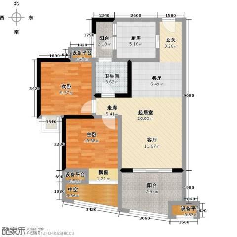 中融金湖名城,御湖2室0厅1卫1厨82.00㎡户型图