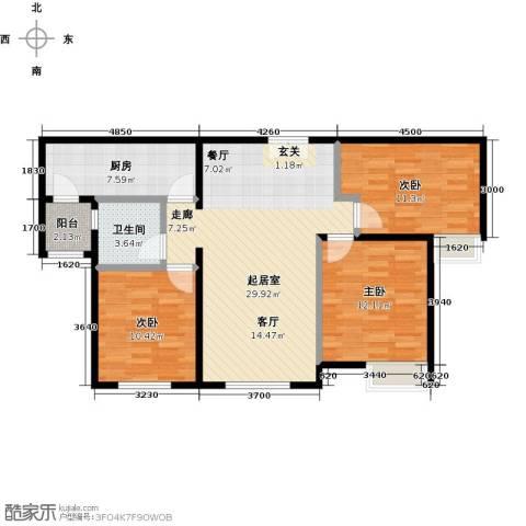 富力津门湖3室0厅1卫1厨111.00㎡户型图