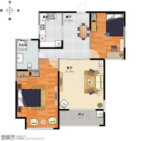 绿地世纪城2室2厅1卫1厨94.00㎡户型图