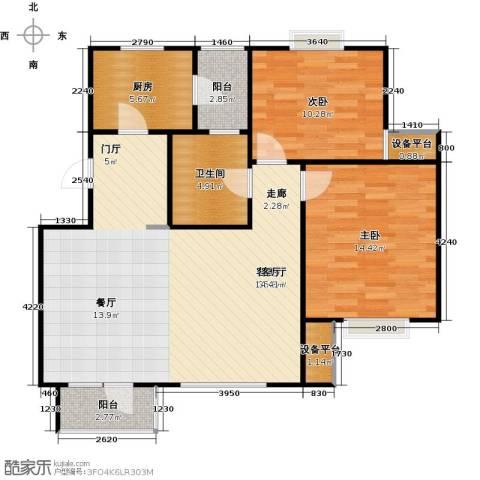 芒果郡2室1厅1卫1厨106.00㎡户型图