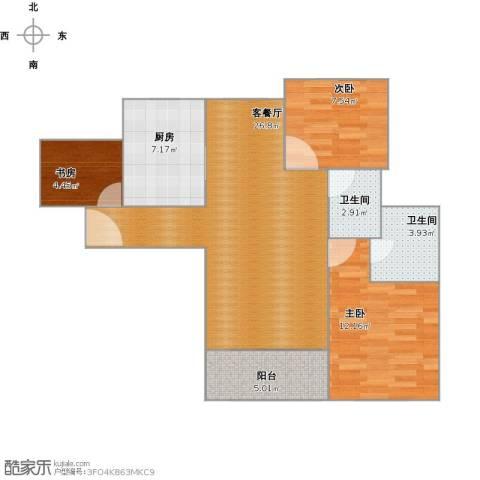紫竹半岛3室1厅2卫1厨90.00㎡户型图