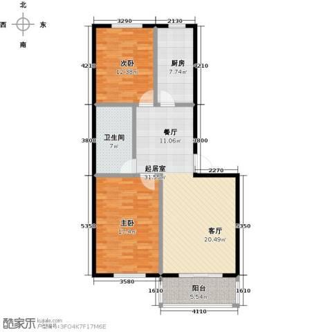 西湖庄园2室0厅1卫1厨91.20㎡户型图