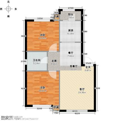 凯旋城2室1厅1卫1厨102.00㎡户型图