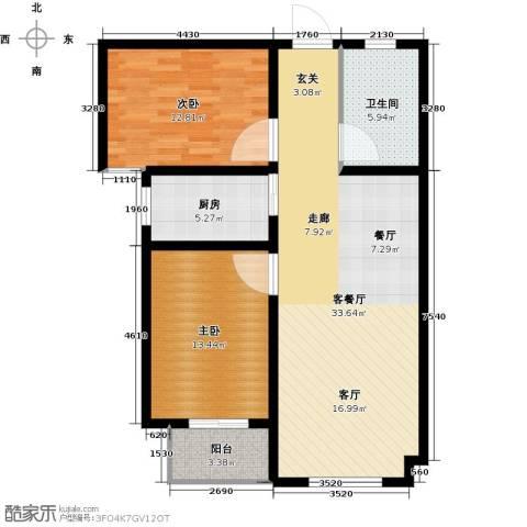 直隶尚都2室1厅1卫1厨88.00㎡户型图