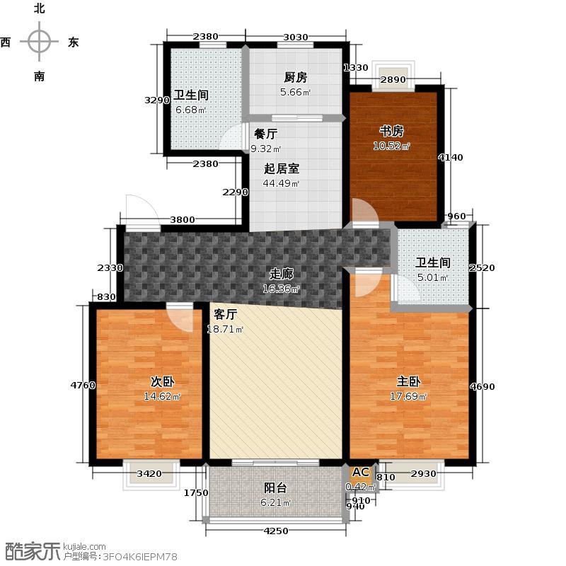 华兴・瑞都国际三室两厅两卫 125平米户型3室2厅2卫