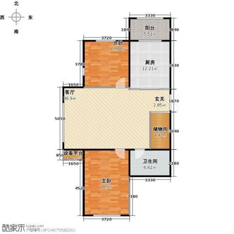 新阳绿洲春城2室1厅1卫1厨132.00㎡户型图