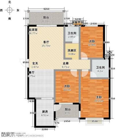 华富世家3室0厅2卫1厨110.00㎡户型图