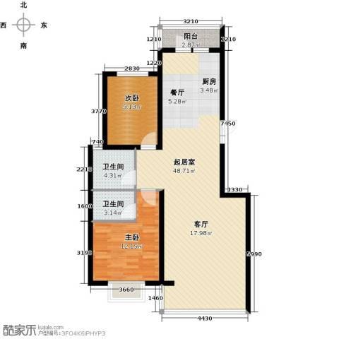 滨洲华府2室0厅2卫0厨97.00㎡户型图
