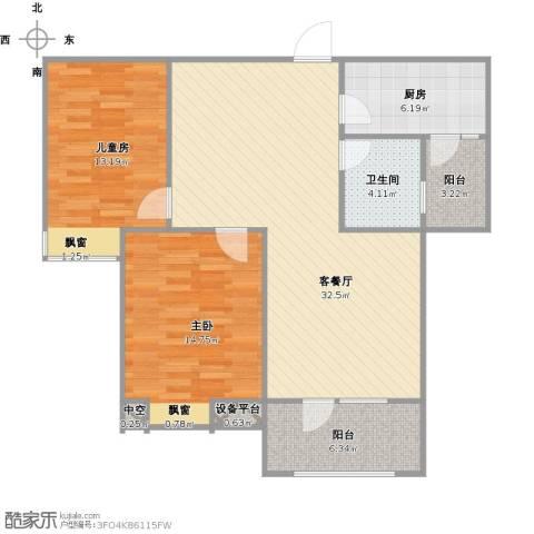 美域澜苑2室1厅1卫1厨109.00㎡户型图