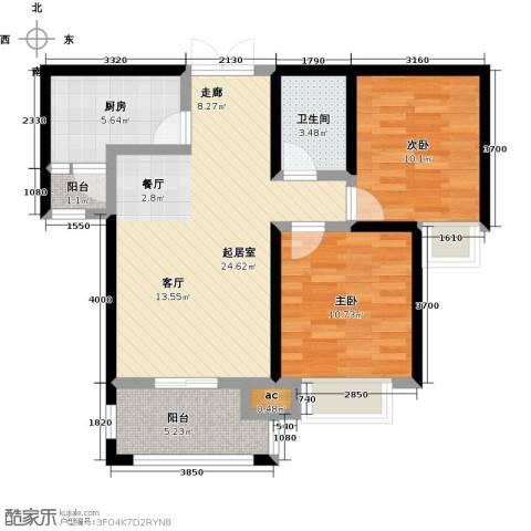 君河湾2室0厅1卫1厨90.00㎡户型图