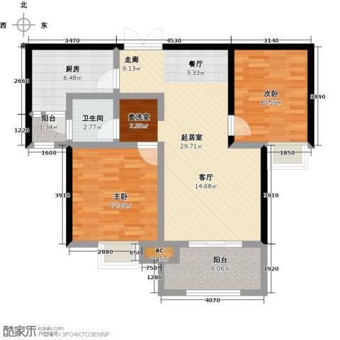 君河湾2室0厅1卫1厨102.00㎡户型图
