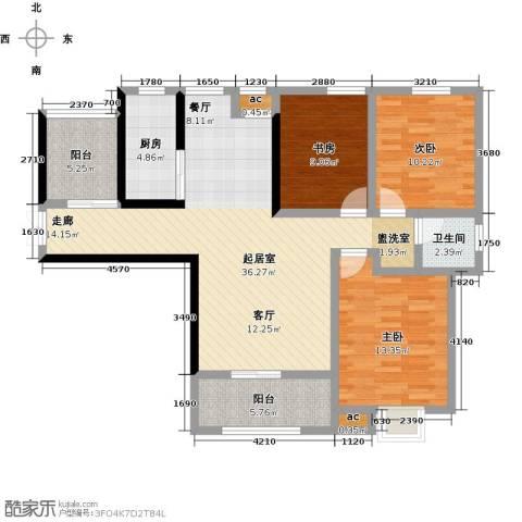 君河湾3室0厅1卫1厨129.00㎡户型图