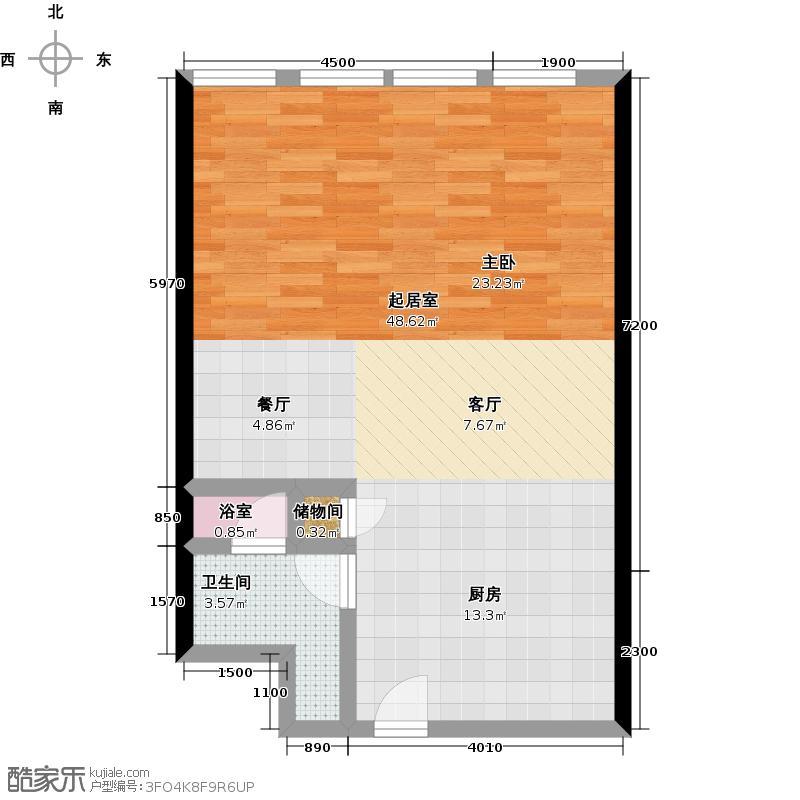 德胜凯旋公寓88.77㎡一室一卫户型