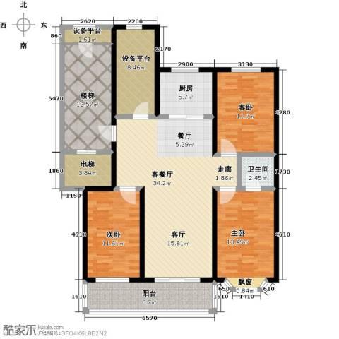 吴兴庄园3室1厅1卫1厨132.00㎡户型图