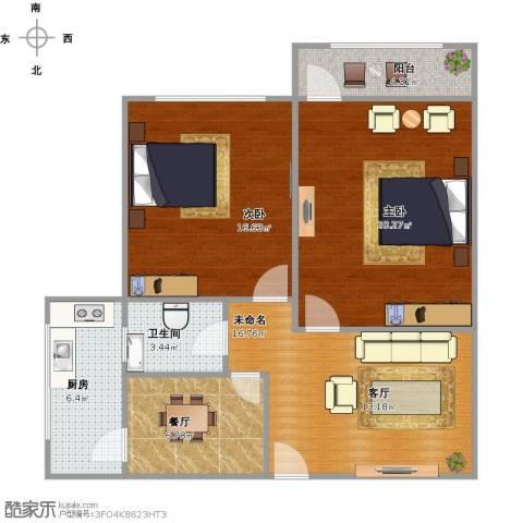 百花小区2室1厅1卫1厨100.00㎡户型图