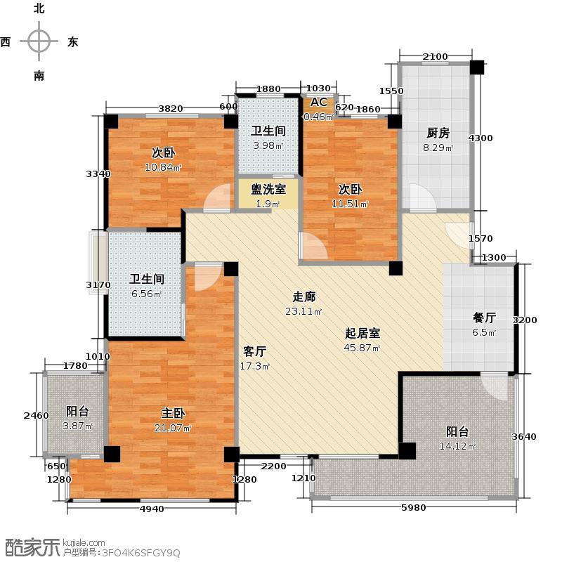 和贵花园136.72㎡花园洋房J户型 3室2厅2卫1厨136.73㎡户型3室2厅