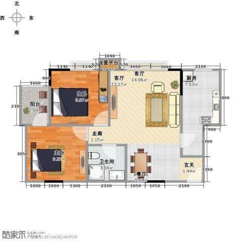 竹凌星晨2室1厅1卫1厨64.00㎡户型图
