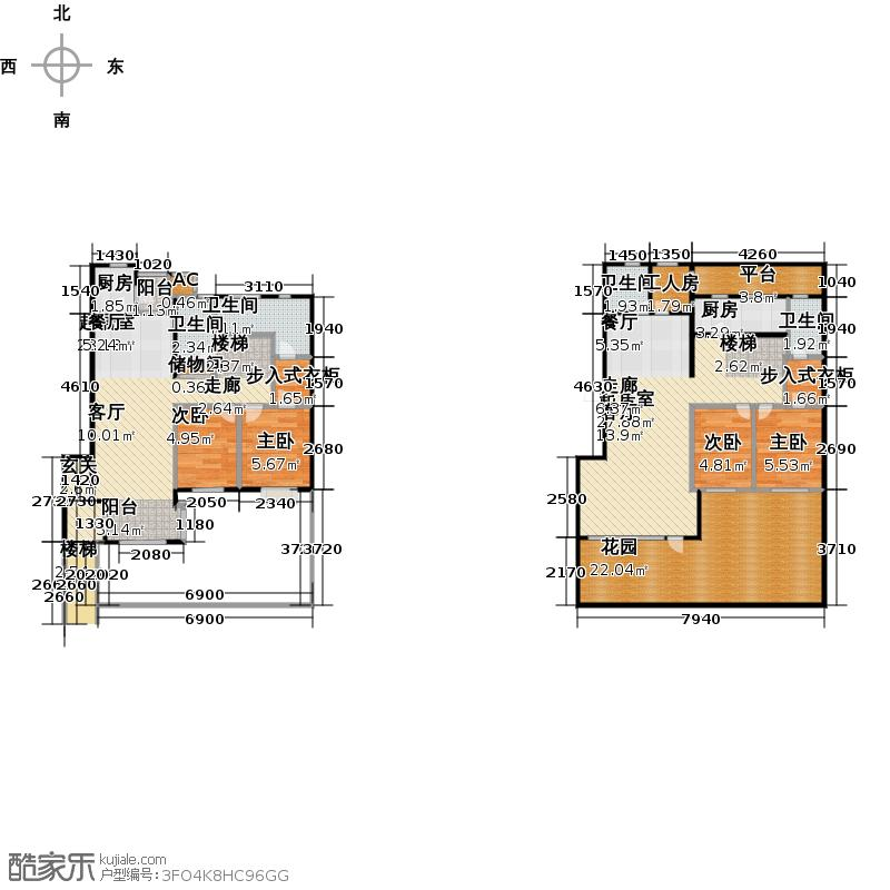 亿达普罗旺斯132.42㎡六室三厅五卫户型6室3厅5卫