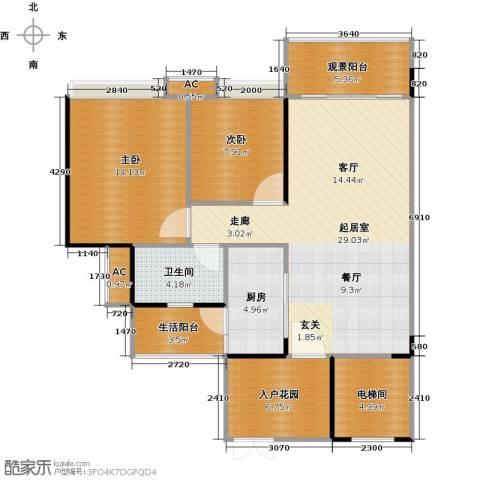 花海湾2室0厅1卫1厨89.00㎡户型图