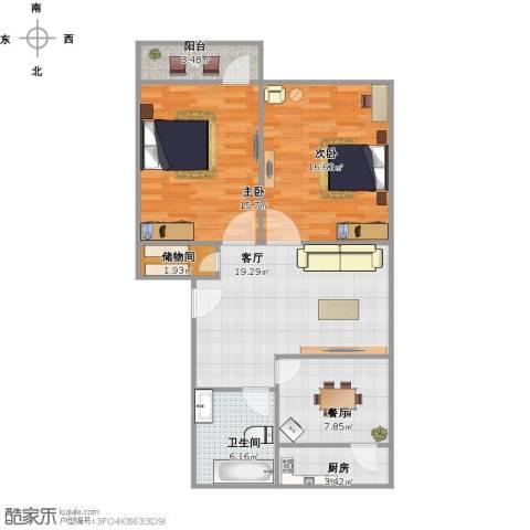 历城五中宿舍2室2厅1卫1厨100.00㎡户型图