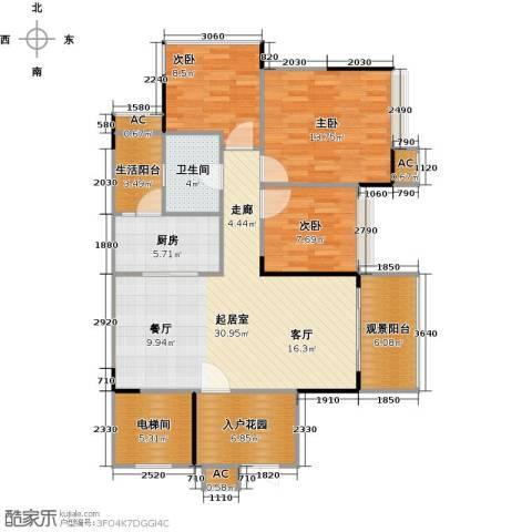 花海湾3室0厅1卫1厨102.00㎡户型图