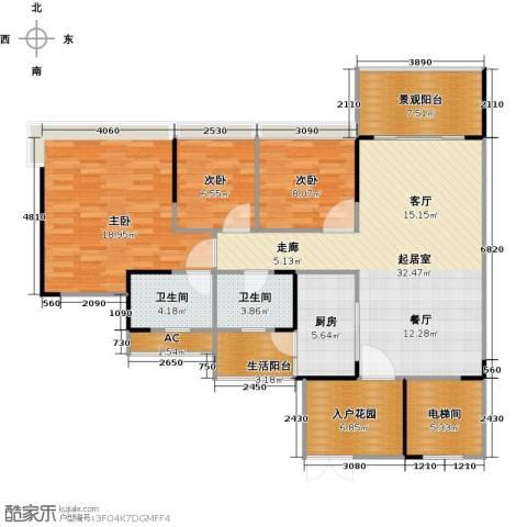 花海湾3室0厅2卫1厨113.00㎡户型图