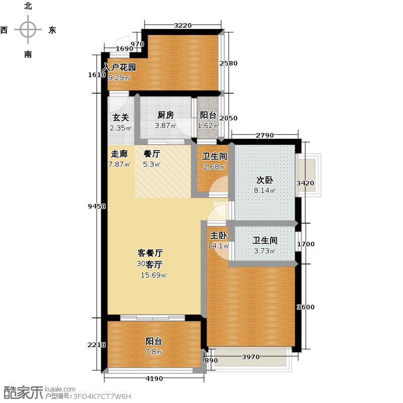 新会骏景湾户型2室1厅2卫1厨