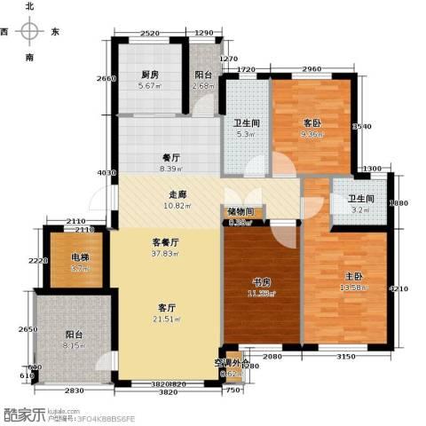 鼎盛佳苑3室1厅2卫1厨144.00㎡户型图