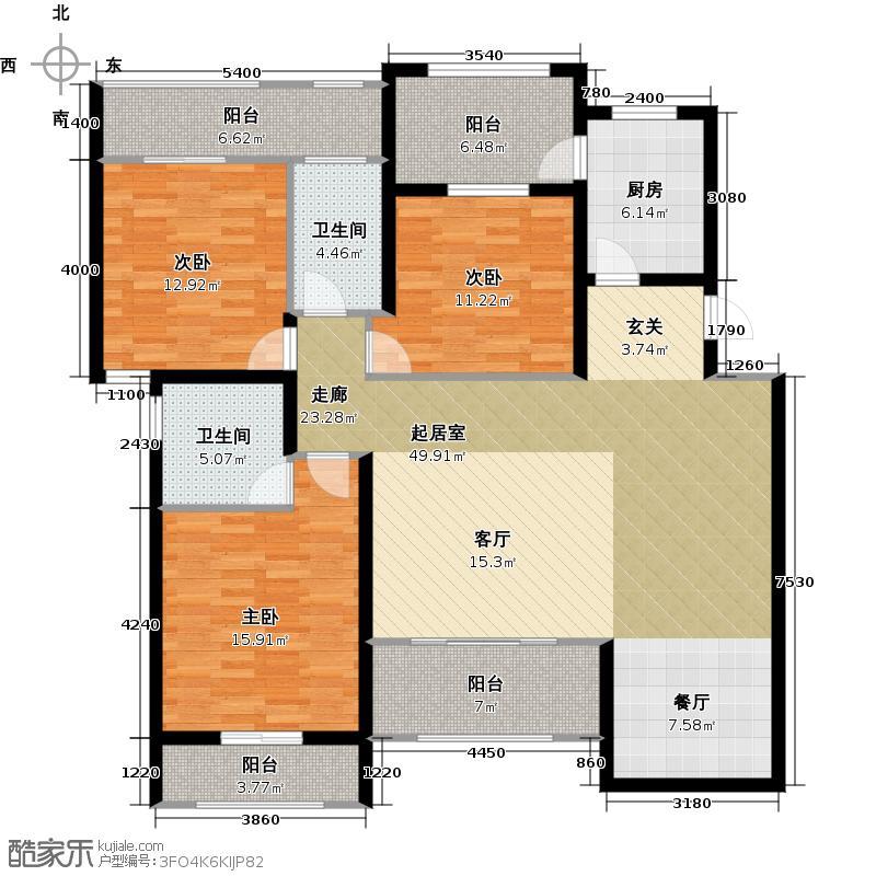 玉川新城户型3室2卫1厨