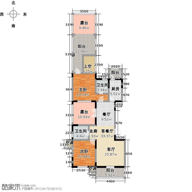 俊城橡树原M2二室一厅二卫户型