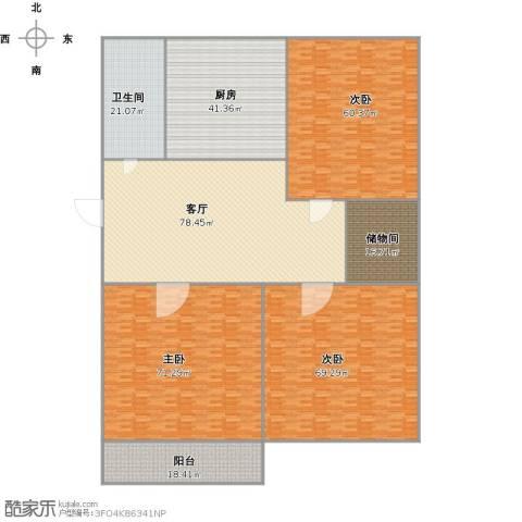 历城区政府宿舍3室1厅1卫1厨488.00㎡户型图