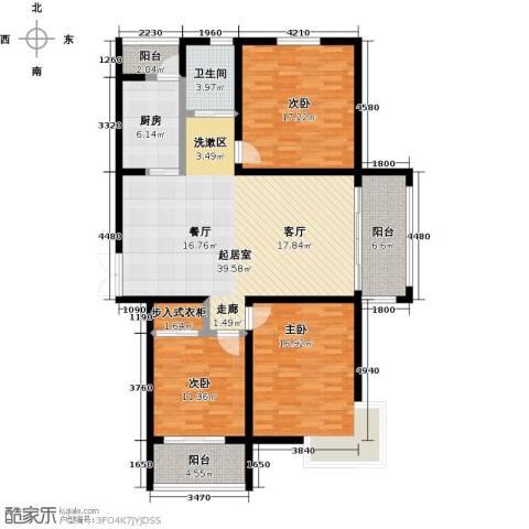 锦华广场3室0厅1卫1厨158.00㎡户型图