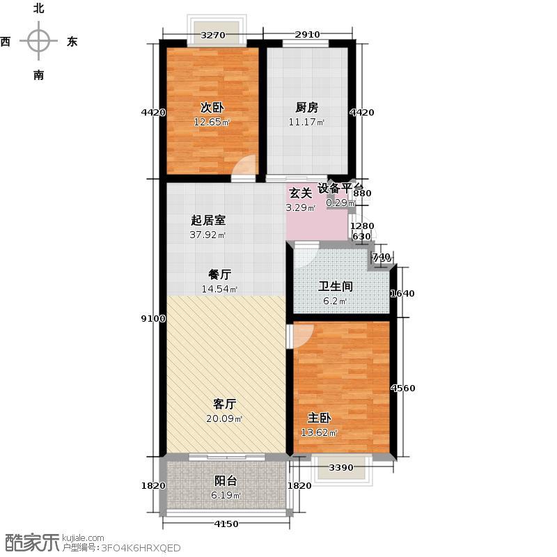 贵和苑100.00㎡三室两厅一卫户型3室2厅1卫
