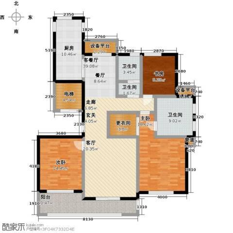 国华天玺3室1厅3卫1厨186.00㎡户型图