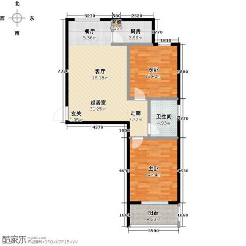 西湖庄园2室0厅1卫1厨81.40㎡户型图