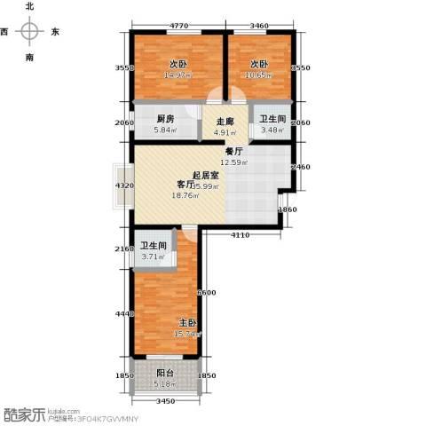阳光绿城3室0厅2卫1厨110.00㎡户型图